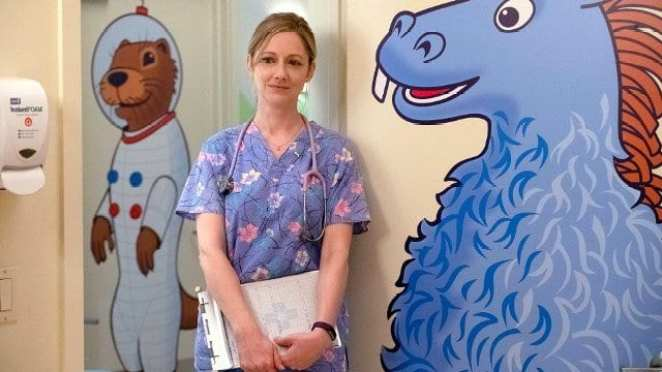 Jill as a nurse on childrens ward in Kidding