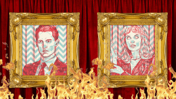 Two 3-D Portraits of Dale Cooper and Laura Palmer hang on a red curtain that's on fire.