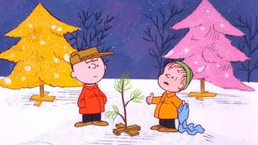 cartoon boys in a Christmas tree lot