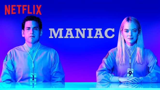 Title cover for Maniac, the limited series on Netflix starring Emma Stone and Jonah Hill