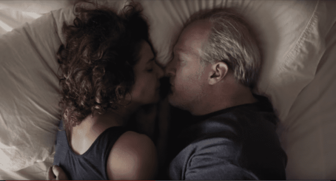Debra Winger and Tracy Letts in Azazel Jacobs' The Lovers face to face in bed together