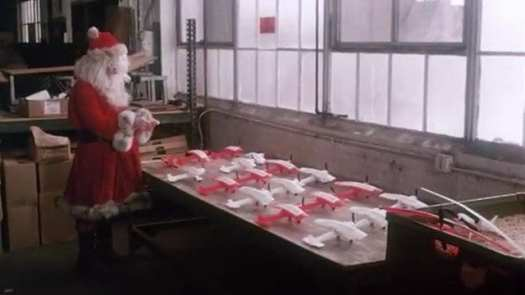 Santa looks at toys in the 1980 horror classic Christmas Evil.