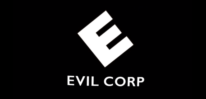 "Elliot (Rami Malek) mentally turns the E Corp logo into ""Evil Corp"" in USA's Mr. Robot"