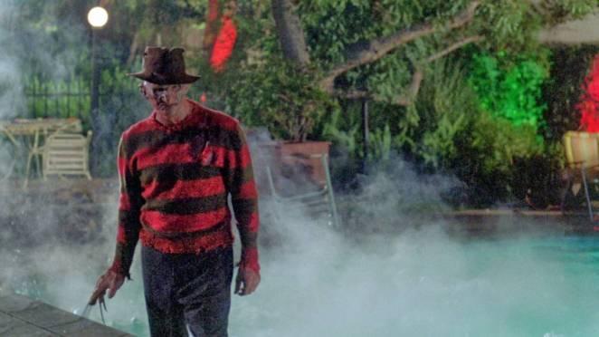 Freddy walks away from the steamy pool