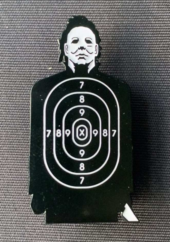Michael Myers shooting range enamel pin