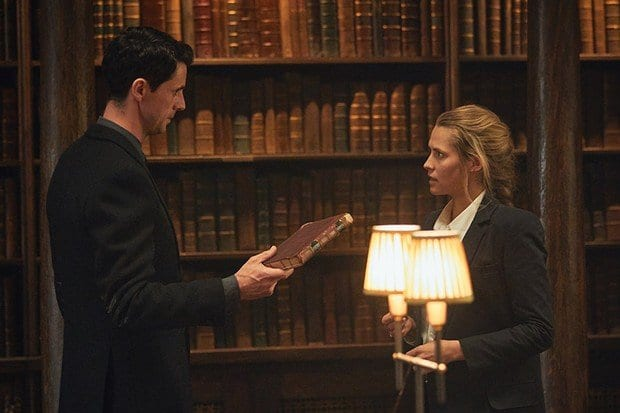 Matthew Goode and Teresa Palmer as Matthew Clairmont and Diana Bishop.