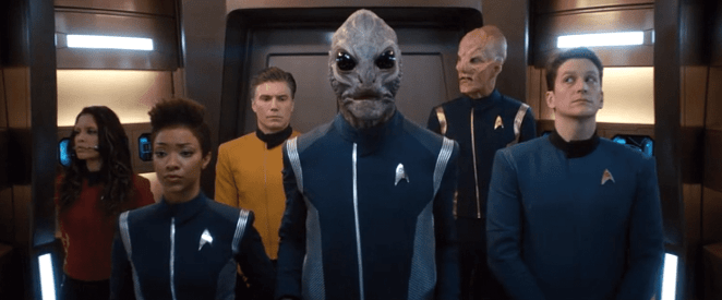 Star Trek Discovery's crew assembles in the turbolift