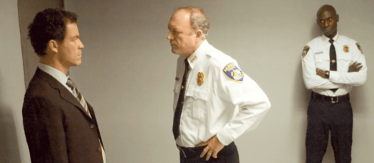 Jimmy McNulty is confronted by Bill Rawls and Cedric Daniels in the series finale of The Wire