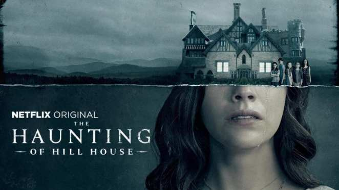 A promo image for Netflix's The Haunting of Hill House features a mash-up of Nell's face with the titular house