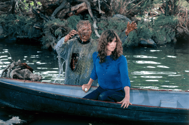 Chris Higgins hallucinates Pamela Voorhees pulling her into Crystal Lake in Friday the 13th Part III