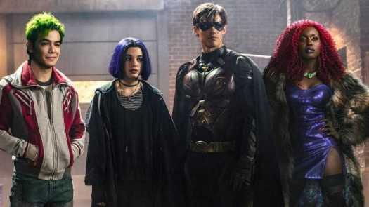 Ryan Potter as Beast Boy/Garfield Logan, Teagan Croft as Raven/Rachel Roth, Brenton Thwaites as Robin/Dick Grayson and Anna Diop as Starfire/Koriand'r in Titans.