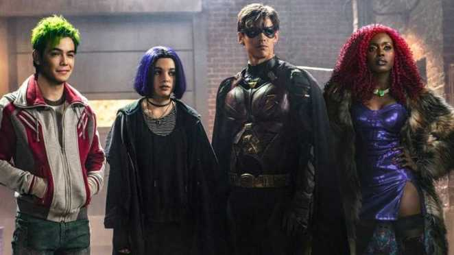 Ryan Potter as Beast Boy/Garfield Logan, Teagan Croft as Raven/Rachel Roth, Brenton Thwaites as Robin/Dick Grayson and Anna Diop as Starfire/Koriand'r in Titans.