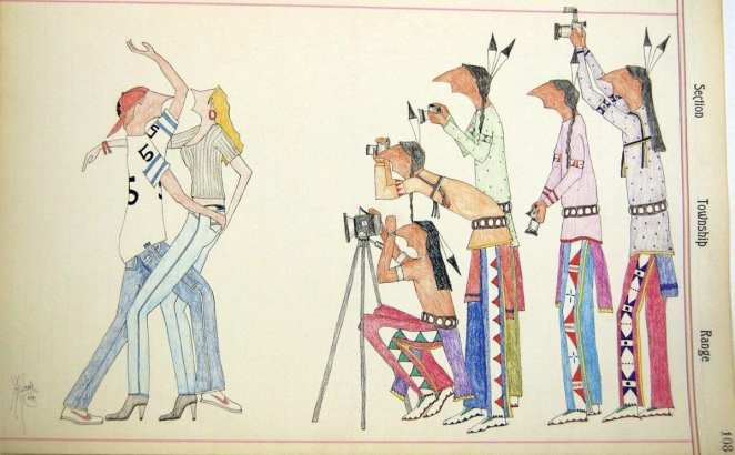contemporary ledger drawing of Native Americans taking photographs of white Americans dancing sexually while wearing sports shirts