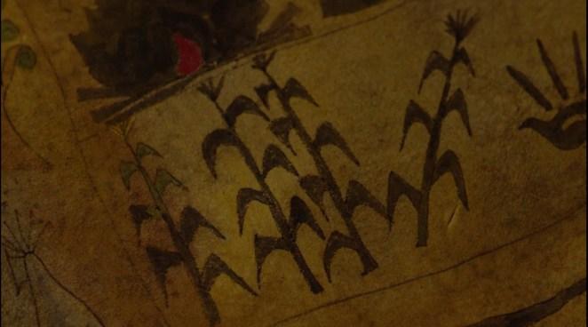 Black corn painted on Hawks Native American map