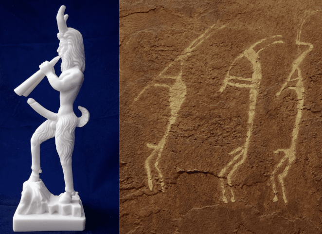 a figurine of kokopelli and some rock drawings of kokopelli