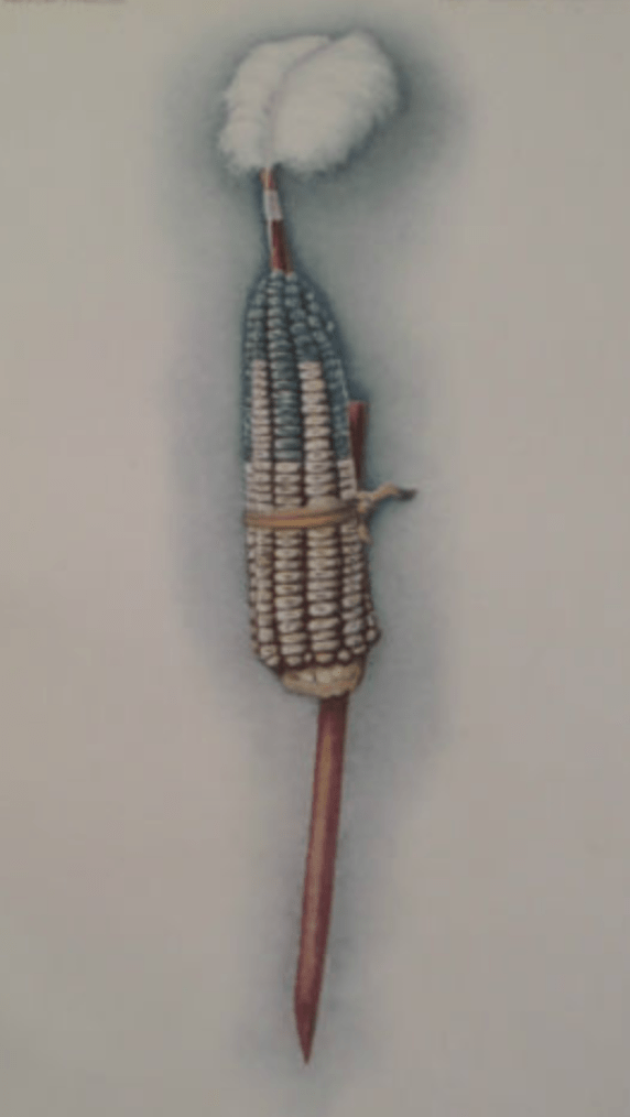 """An Illustration of a Pawnee object representing the goddess Atira in the Pawnee Hako ceremony, 1912. """"The corn is painted so the Rainstorm, the Thunder, the Lightning and the Wind are represented."""""""