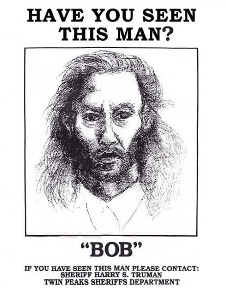 wanted poster of a gaunt man with stringy hair named Bob