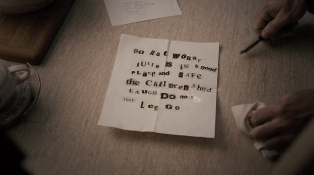 The ransom note sent to the Purcells after Will
