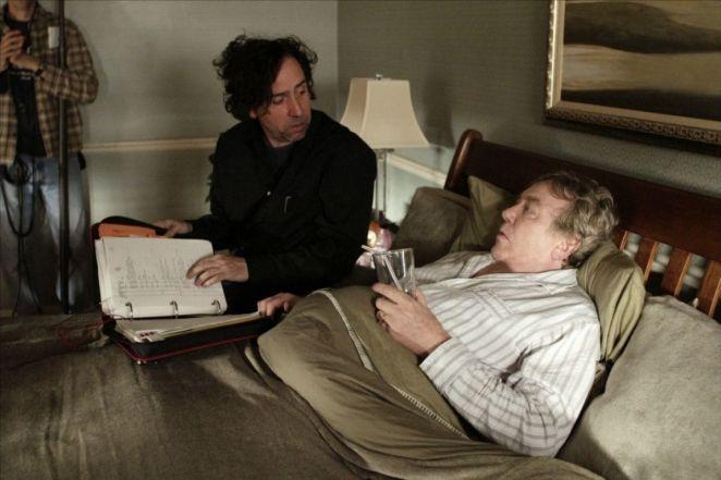 Tim Burton an d Albert Finney in between scenes for Big Fish