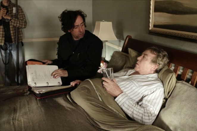 Tim Burton an d Albert Finney in between scenes for Big Fish