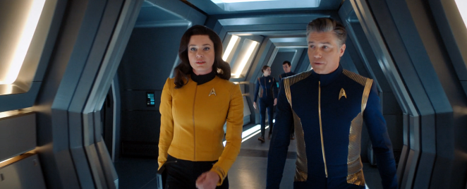 Captain Pike and his Number One on board Discovery.
