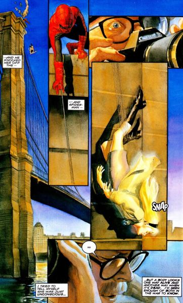 modern take on the death of Gwen Stacy in Marvels #4