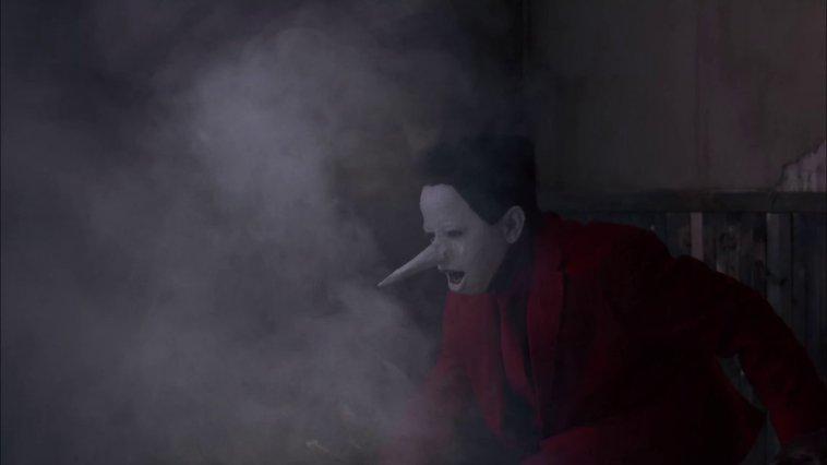 The Jumping Man amidst smoke