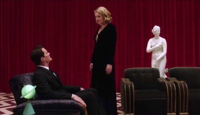 Laura Palmer and Agent Cooper in the waiting room of the Black Lodge