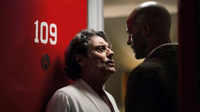 Mr. Wednesday and Shadow in American Gods