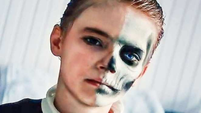 Miles Blume's face is half painted like a skull in the prodigy