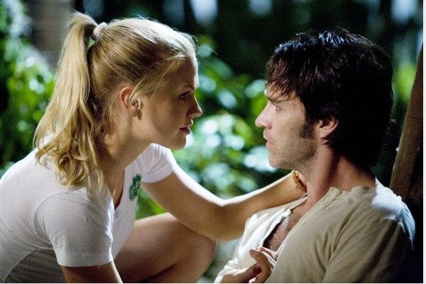 """Sookie (Anna Paquin) and Bill (Steven Moyer) in """"Strange Love,"""" the pilot episode of HBO"""