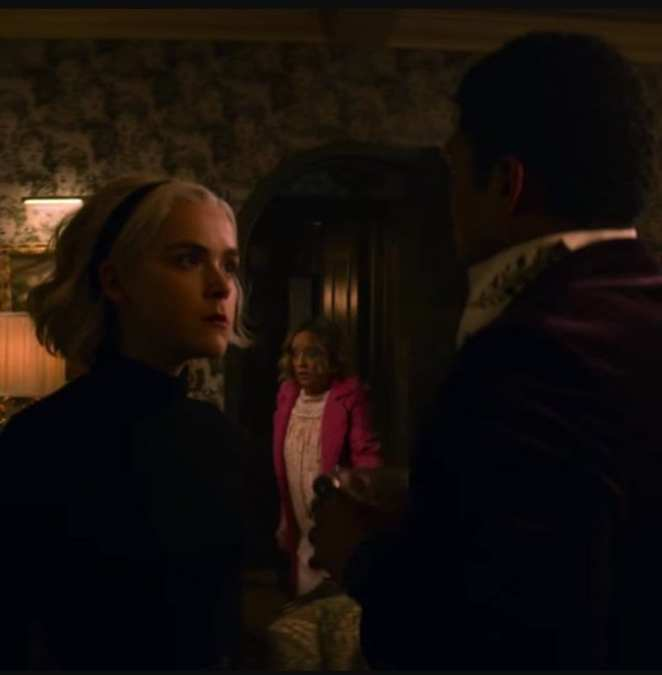 Sabrina argues with Ambrose in Chilling Adventures of Sabrina