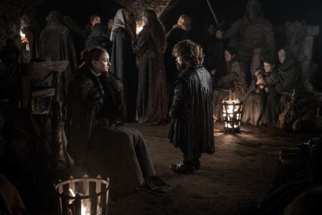 Sansa Stark and Tyrion Lannister talk in the crypts at Winterfell in Game of Thrones The Long Night