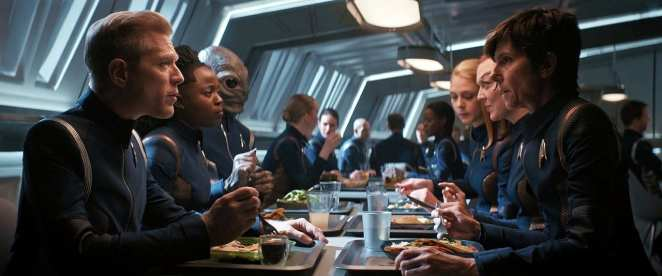 """The crew has some downtime in the mess hall in Star Trek: Discovery Season 2 Episode 12 """"Through the Valley of Shadows"""""""
