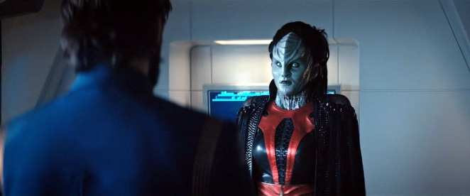 """L'Rell confronts Tyler in Star Trek: Discovery Season 2 Episode 12 """"Through the Valley of Shadows"""""""