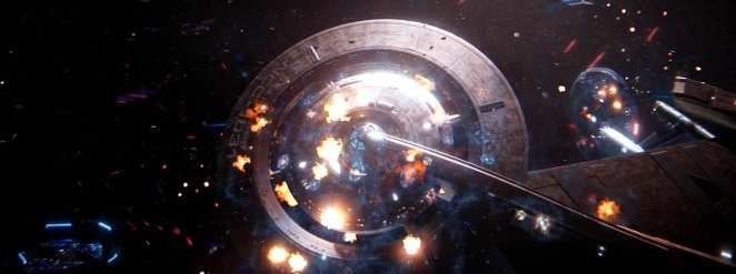 """Discovery and Enterprise under heavy fire from the enemy in the Star Trek: Discovery Season 2 finale """"Such Sweet Sorrow"""" Part 2."""