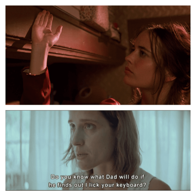 Isabelle from The Dreamers and the eldest daughter in Dogtooth.