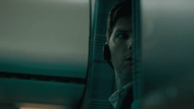 "Adam Scott plays paranoid investigative journalist Justin Sanderson in Twilight Zone Episode 2 ""Nightmare at 30,000 Feet"""