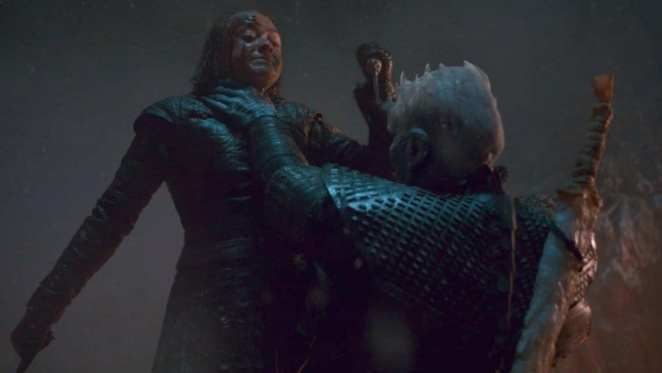 Arya Stark and The Night King just before she kills him in Game of Thrones The Long Night