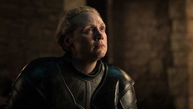 Brienne of Tarth is knighted by Jaime Lannister in the Game of Thrones episode A Knight of the Seven Kingdoms