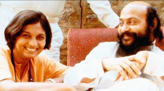 Bhagwan Shree Rajneesh and Ma Anand Sheela in an image from the Netflix documentary Wild Wild Country