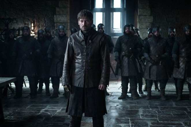 Jaime Lannister stands before Sansa, Daenerys, and Jon Snow in the Game of Thrones episode A Knight of the Seven Kingdoms