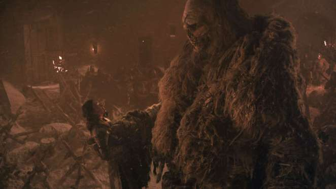 Lady Mormont is killed by the reanimated giant Wun-Wun in Game of Thrones The Long Night