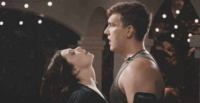 Rachel Bloom and Scott Michael Foster as Rebecca and Nathaniel