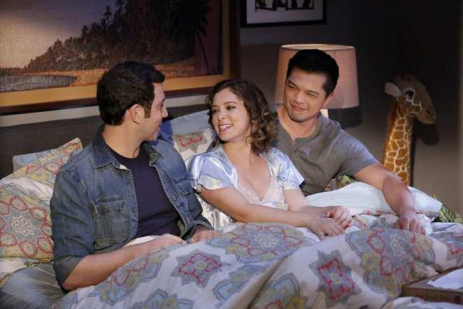 Santino Fontana, Rachel Bloom and Vincent Rodriguez III in Crazy Ex Girlfriend