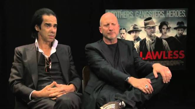 Frequent musical collaborator Nick Cave seated next to Witchfinder General remake director John HIllcoat.