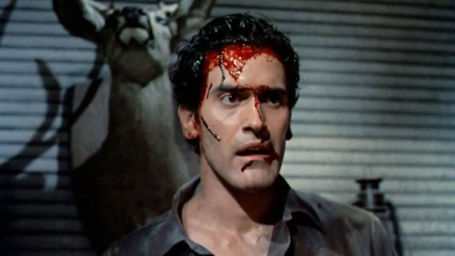 This is a shot of a traumatised Ash in Evil Dead II: Dead by Dawn.