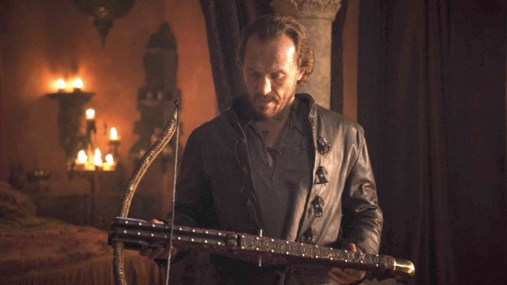 Bronn holds the crossbow Tyrion used to kill his father in Game of Thrones