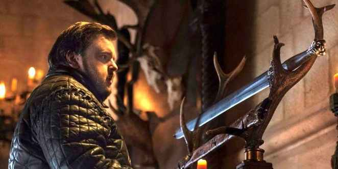 Samwell looks at his family's sword in Game of Thrones