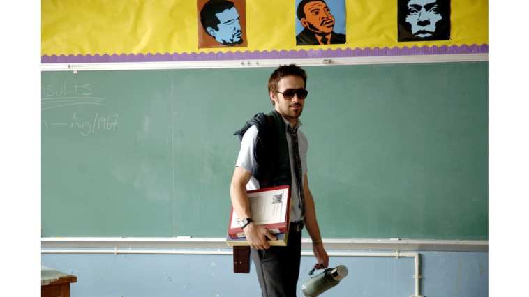 Dan Dunne (Ryan Gosling) is a history teacher sturggling with addiction in Half Nelson.
